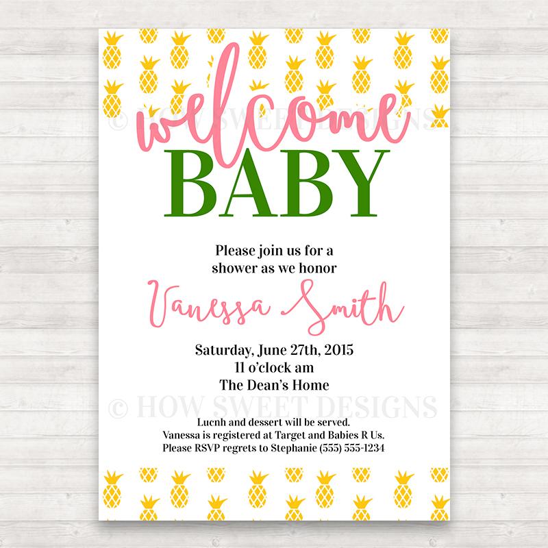 Pineapple baby shower invitation how sweet designs filmwisefo