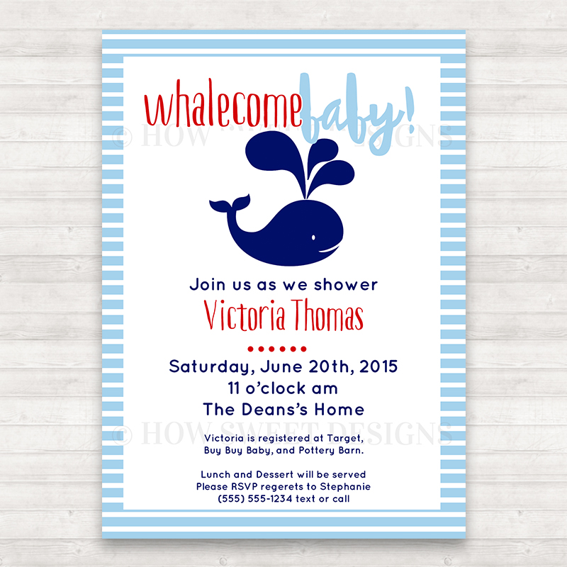 Whale Baby Shower Invitation - How Sweet Designs
