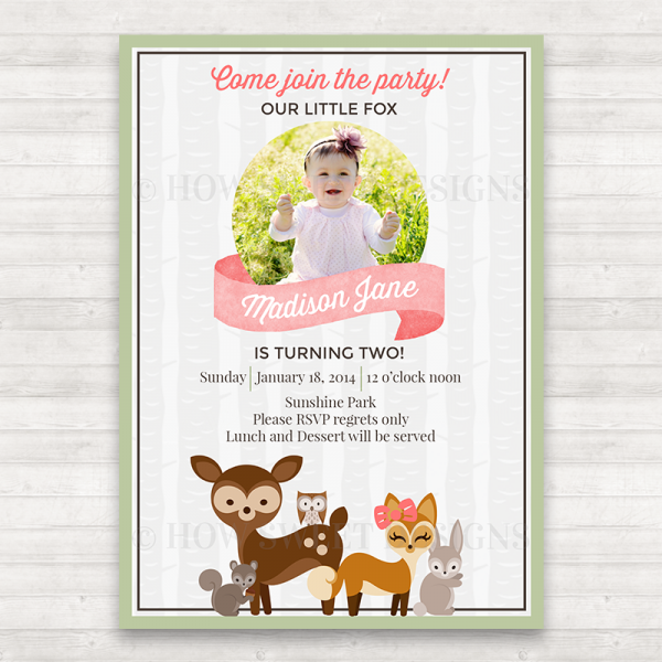Woodland Animal Birthday Invitation
